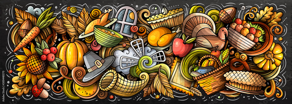 Fototapety, obrazy: Happy Thanksgiving hand drawn cartoon doodles illustration.
