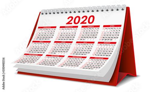 Red 2020 Calendar Wallpaper Mural