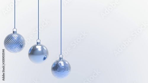 Pinturas sobre lienzo  Blue Christmas balls with white background