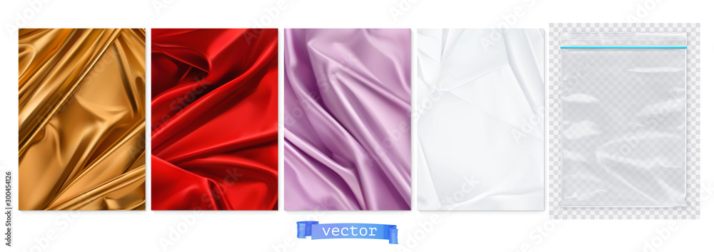 Fototapeta Gold and red fabric, violet curtain, white paper, transparent plastic package. 3d vector realistic backgrounds