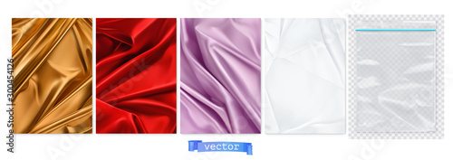 Obraz Gold and red fabric, violet curtain, white paper, transparent plastic package. 3d vector realistic backgrounds - fototapety do salonu