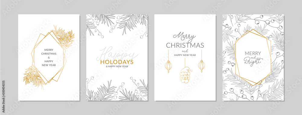Fototapeta Golden and silver Christmas cards set with hand drawn tree branches and berries. Doodles and sketches vector illustrations, DIN A6