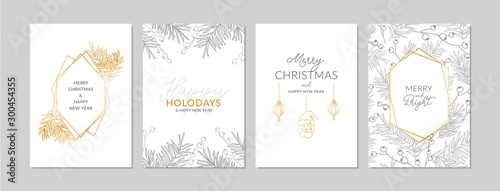 Obraz Golden and silver Christmas cards set with hand drawn tree branches and berries. Doodles and sketches vector illustrations, DIN A6 - fototapety do salonu
