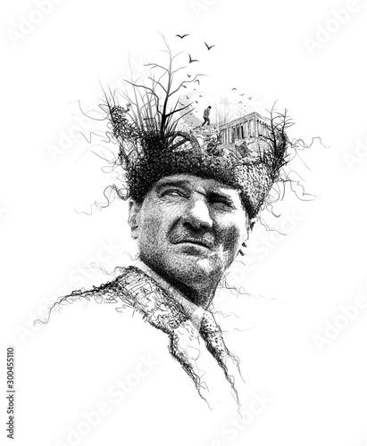 Ataturk illustration, Leader of Turkey,President drawing,collage art Fototapete