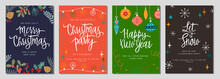 Christmas Gift Card And Invitation Set With Lettering. Hand Drawn Design  Elements. Perfect For Winter Holidays And New Year Greetings.