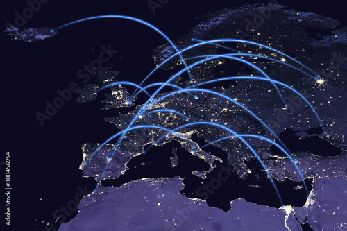 Connectivity concept with communication around Europe, Africa and the Middle Eas Tablou Canvas