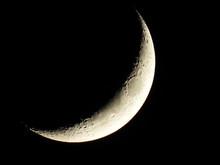 Crescent Moon In Dark Of Night