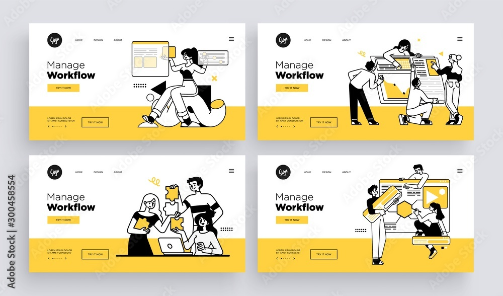 Fototapeta Workflow management business concept. Collection of web page templates. Outline vector Style.