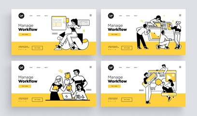 Obraz na płótnie Canvas Workflow management business concept. Collection of web page templates. Outline vector Style.