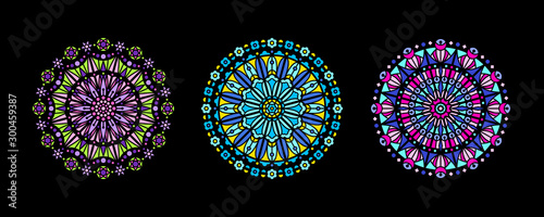 Fotomural  Stained glass illustration collection, circle shape, stylized rose window mandala ornament, tracery