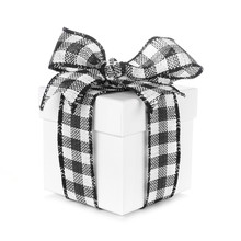 White Christmas Gift Box With Black And White Buffalo Plaid Bow And Ribbon. Side View Isolated On A White Background.