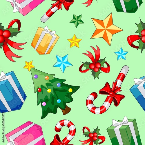 Tuinposter Draw Christmas Elements Vector Seamless Repeat Pattern Background