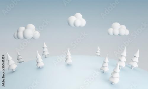 Fotomural  Cartoon Christmas tree on he blue hill, 3d rendering, 3d illustration
