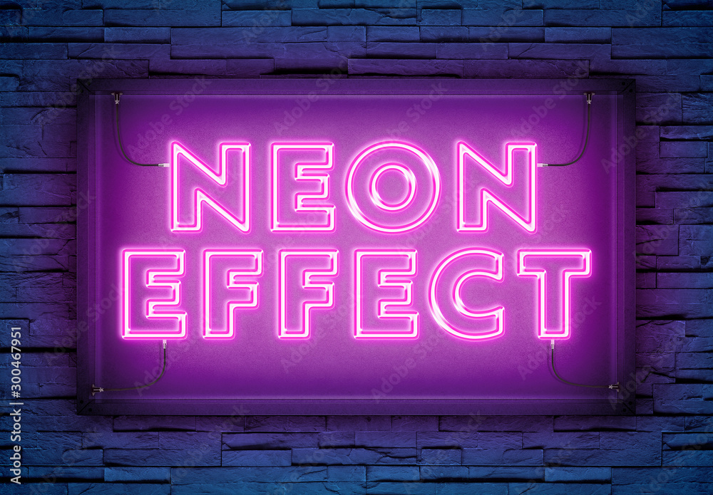 Fototapeta Neon Light Text Effect on Brick Wall Mockup
