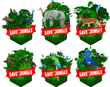 Set Of Vector Jungles Rainforest Emblems With Anaconda, Toucan, Macaw Ara, Harpy Eagle, Green Peafowl, North Sulawesi Babirusa, Elephant, Male Gorilla, Leopard, Victoria Crowned Pigeon And Butterflies