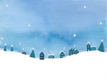 Der Sternenhimmel über Dem Weihnachtsdorf Am Nordpol