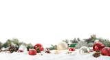 Fototapeta Kawa jest smaczna - Fir branches, Christmas decoration and snow against white background