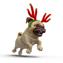 Dog Pug Cartoon With A Christmas Hat Is Running