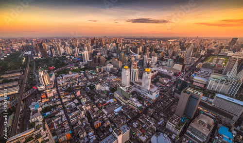 Wide Angle View of Bangkok, Thailand. Cityscape with Skyscrapers at Sunset