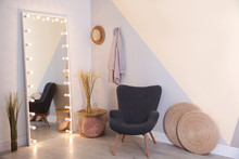 Large Mirror With Lamps In Sty...