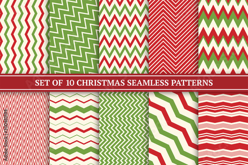 Türaufkleber Künstlich Christmas seamless colorful zigzag patterns. Bright X-mas striped retro backgrounds - vintage style. Endless creative linear textures. Can be used as wrapping paper, covers, wallpaper and etc