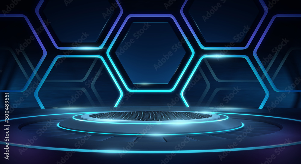 Fototapeta Futuristic Sci Fi Empty Stage neon Glowing Lights,Abstract Background,3D Rendering