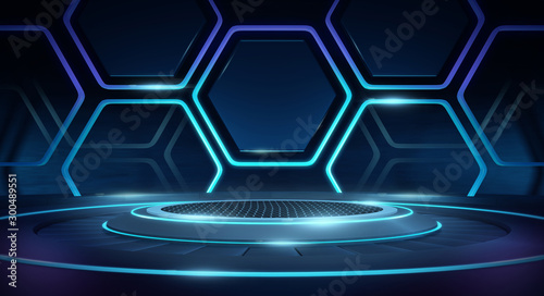 Fotografiet  Futuristic Sci Fi Empty Stage neon Glowing Lights,Abstract Background,3D Renderi