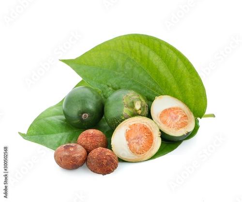 fresh betel nut on betel leaf isolated on white background Wallpaper Mural