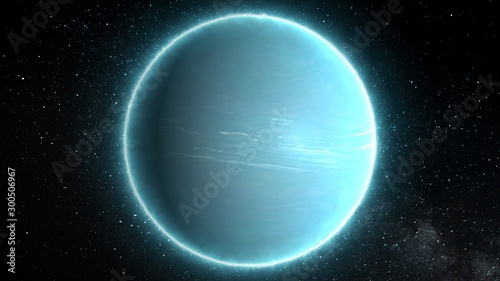 Fotografiet Beautiful View of Planet Uranus from Space Timelapse and Stars - Abstract Backgr