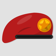 Red Beret For Military Equipment Isolated Vector Illustration