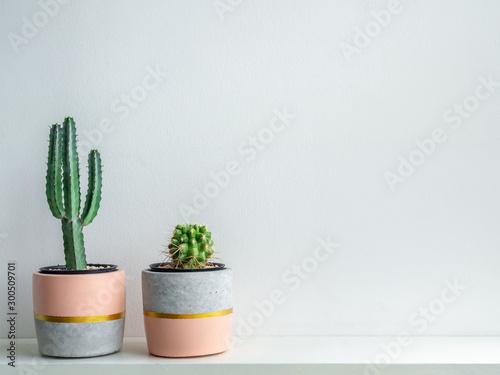 Modern geometric concrete planters. Beautiful painted concrete pots. - 300509701