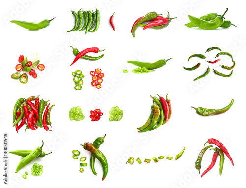 Photo Set with hot chili peppers isolated on white