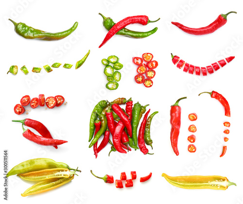 Foto Set with hot chili peppers isolated on white
