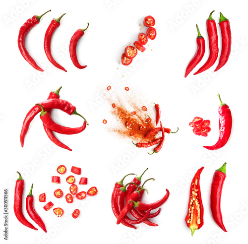Set with hot chili peppers isolated on white Fototapeta
