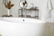Leinwanddruck Bild - Modern ceramic bathtub in light interior