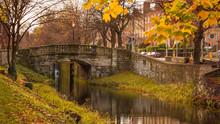 Autumn / Fall Scene In Dublin, Ireland. Beautiful Autumnal Colors And Old Stone Bridge On Grand Canal.