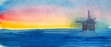 Watercolor Seascape Of Ocean With Oil Derrick