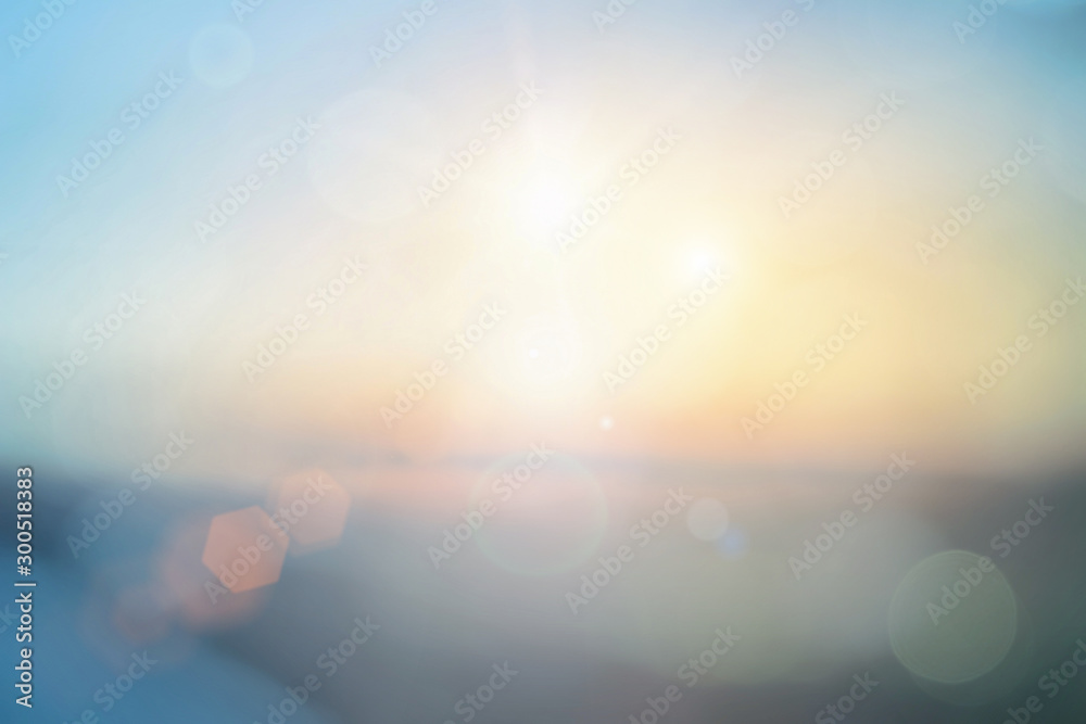 Fototapety, obrazy: Natural background blurring warm colors and bright sun light. Bokeh or Christmas background Green Energy at sky sunny color orange light patterns plain abstract flare evening clouds blur.