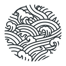 Water Wave Oriental Style Illustrate Vector. Traditional Line Art Graphic Japan. Thai. Chinese.