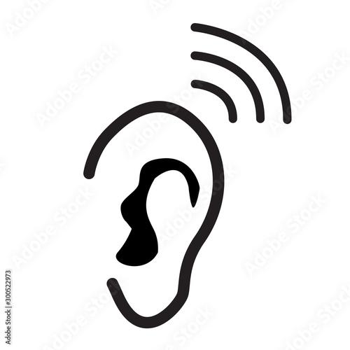 ear icon on white background Canvas-taulu