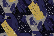 Abstract Creative Seamless Pattern. Paint Strokes, Dots, Geometric Shapes. Vector. Background In The Style Of Impressionism In Purple, Black, Yellow. Grunge. Retro Wallpaper. Hand-drawn Art.