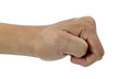 left hand fist isolated on white background,clipping path