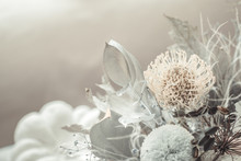 Beautiful Floral Arrangement Of Fresh Flowers Close-up.