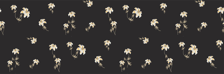 Elegant pattern in small flower. Small white flowers. Lilies on a dark black background. Ditsy floral background. Tropical botanical template for fashion prints. Vector illustration.
