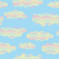 A seamless vector pattern with cotton candy rainbow clouds. Surface print design. Great for backgrounds, textiles and gift wrap.