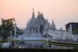 Leinwanddruck Bild Wat Rong Khun Temple (White temple) during sunet at dusk in Chiangrai province, Thailand.
