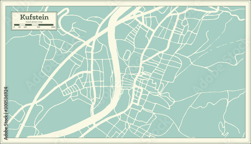 Kufstein Austria City Map in Retro Style. Outline Map. Wallpaper Mural