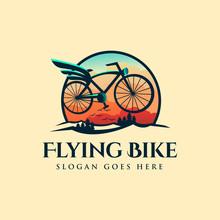 Colorful Modern Classic Logo Of Flying Bike, Bike Logo