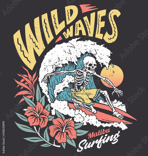Photo Vintage graphic of a surfing skeleton with hibiscus flowers