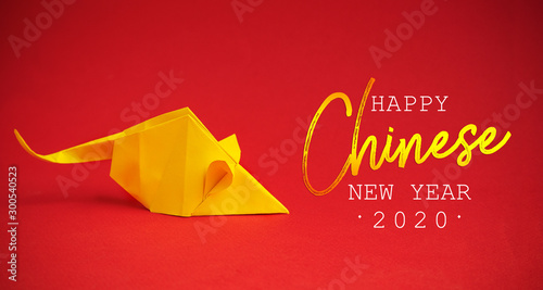 Chinese New Year 2020. Year of Rat. Chinese zodiac symbol of 2020. Origami paper animal